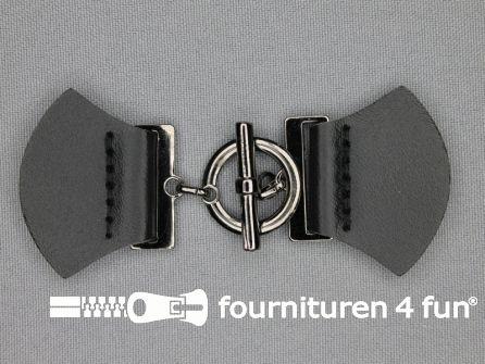 Siersluiting leer 95x38mm zwart - zilver