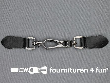 Siersluiting leer 150x18mm zwart - zilver