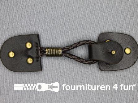 Siersluiting leer 126x34mm bruin - brons