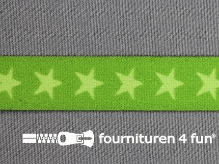 Elastiek met sterren 20mm lime-groen