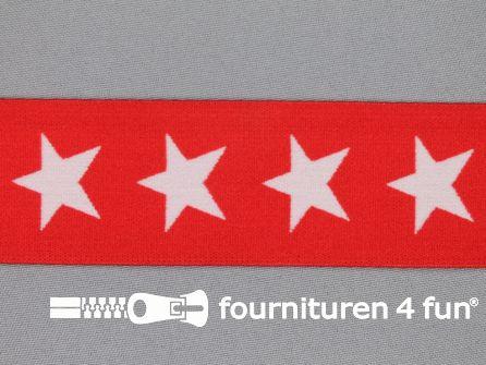 Elastiek met sterren 40mm rood