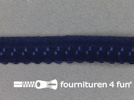 Luxe elastische biasband 12mm donker blauw