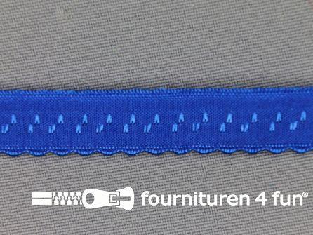 Luxe elastische biasband 12mm kobalt blauw