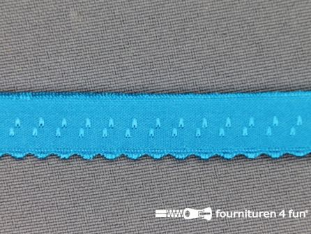 Luxe elastische biasband 12mm aqua blauw