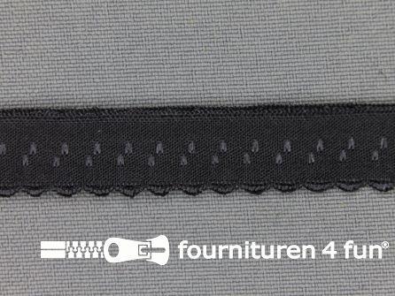 Luxe elastische biasband 12mm donker grijs
