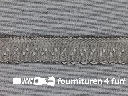 Luxe elastische biasband 12mm midden grijs