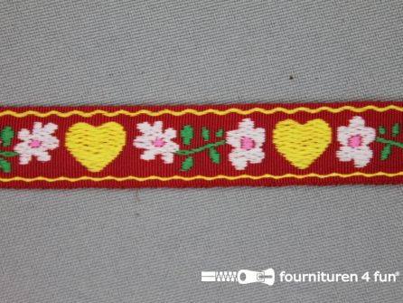 Folklore band hartje 17mm rood
