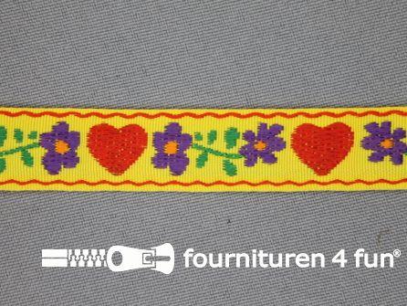 Folklore band 17mm geel met rood hartje