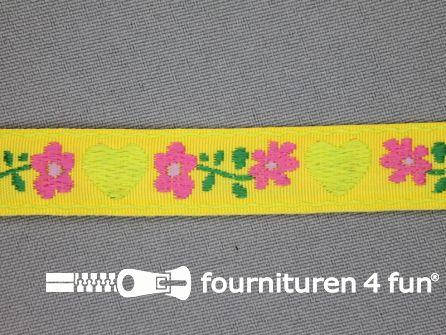 Folklore band 17mm geel met groen hartje