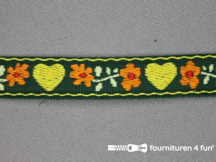 Folklore band hartje 17mm donker groen