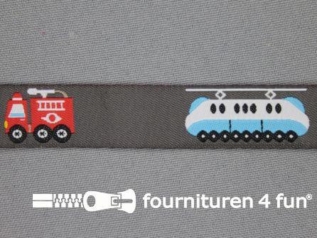 Kinderband 17mm brandweer - trein