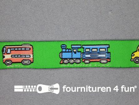 Kinderband 17mm licht groen bus - stoomtrein