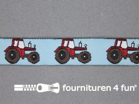 Kinderband 17mm licht blauw - tractor