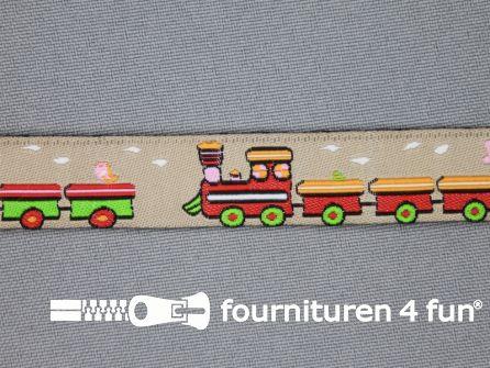 Kinderband 17mm beige - treinwagonnetje