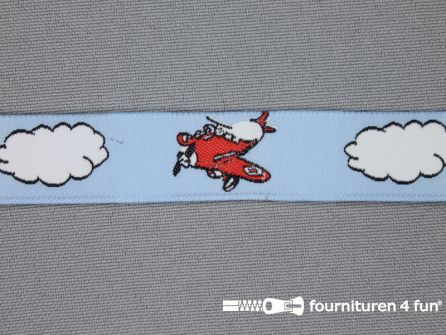 Kinderband 17mm wolkje - planes