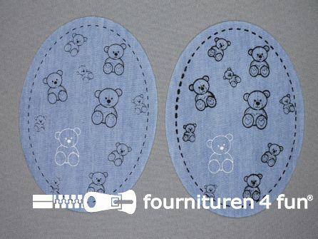 Kniestukken kids jeans klein beertje zwart - licht blauw