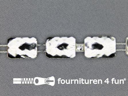 Strass band 10mm rechthoek zilver