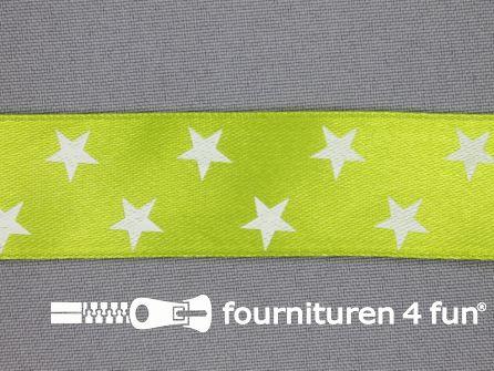 Satijnen deco lint 25mm sterren lime groen