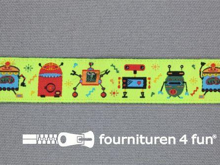 Kinderband 15mm robot neon-geel