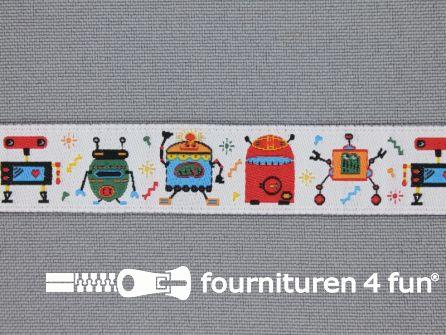 Kinderband 15mm robot wit