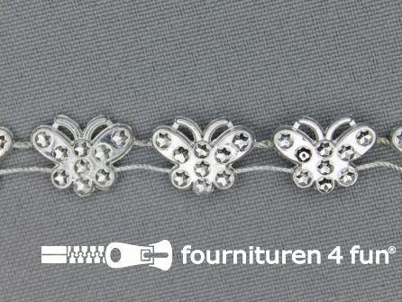 Strass band 12mm vlinders zilver
