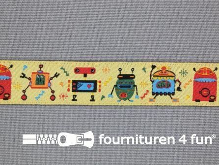 Kinderband 15mm robot licht geel