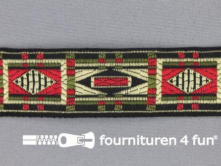 Indianenband 26mm leger groen - rood - zwart - ecru