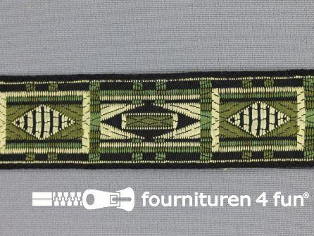 Indianenband 26mm leger groen - ecru - zwart