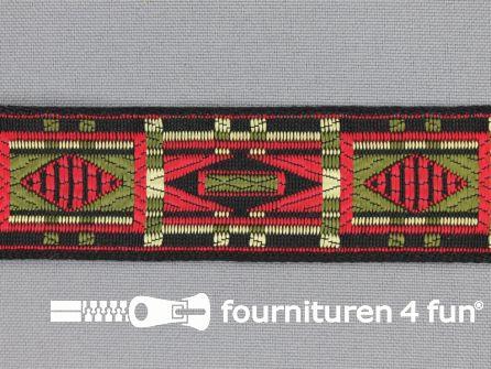 Indianenband 26mm leger groen - ecru - rood - zwart