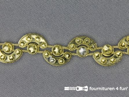 Strass band 15mm halve cirkels goud