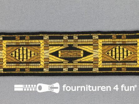 Indianenband 26mm geel - ecru - beige - zwart