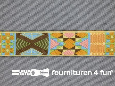 Indianenband 18mm multi bruin - licht blauw - oranje