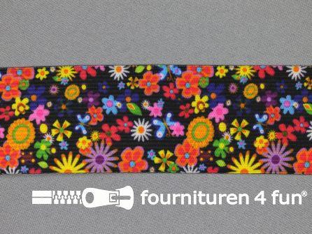 Elastiek met kleine bloemen 35mm multicolor zwart