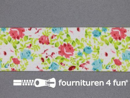Elastiek met kleine bloemen 40mm multicolor-wit