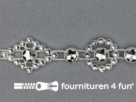 Strass band 15mm pastille zilver