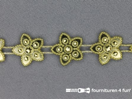 Strass band 15mm sterren goud