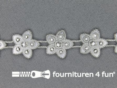 Strass band 15mm sterren zilver