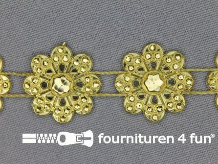 Strass band 20mm bloemen goud
