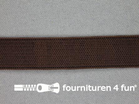 Gekleurd soepel elastiek 14mm donker bruin