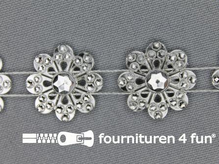 Strass band 20mm bloemen zilver