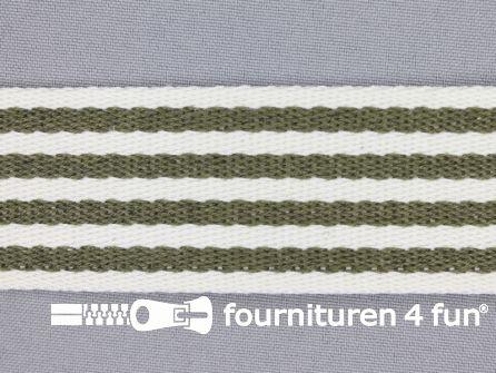 Gestreept tassenband 40mm legergroen - wit