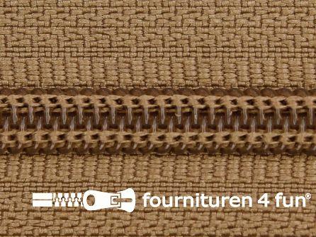 Deelbare spiraal rits 6mm met 2 schuivers camel bruin