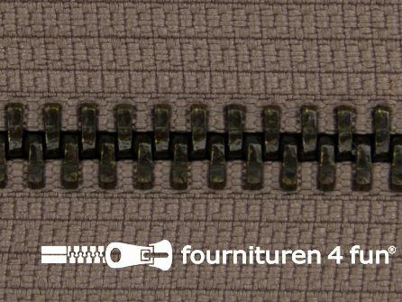 Deelbare bronzen rits 5mm taupe-leverbeige