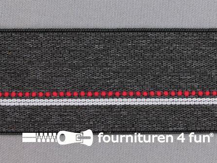Elastiek gestreept 40mm donker grijs - rood - wit