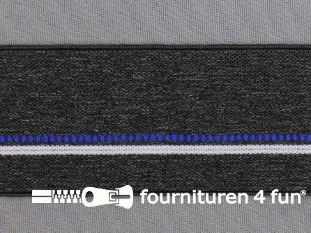 Elastiek gestreept 40mm donker grijs - blauw - wit