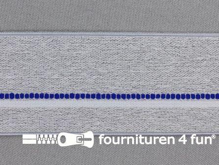 Elastiek gestreept 40mm licht grijs - blauw - wit