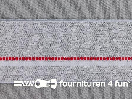 Elastiek gestreept 40mm licht grijs - rood - wit