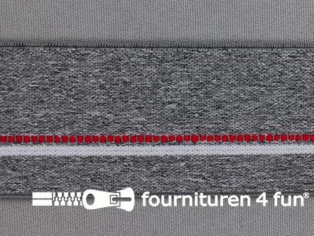 Elastiek gestreept 40mm midden grijs - rood - wit