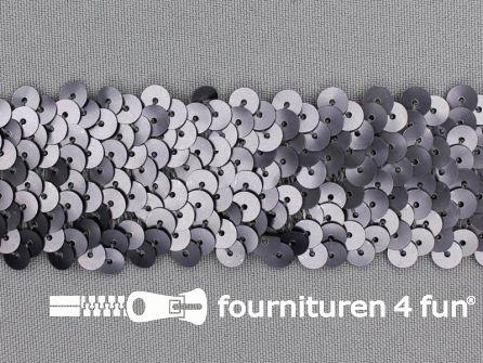 Elastische pailletten band 36mm mat zilver grijs