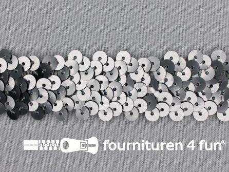 Elastische pailletten band 30mm mat zilver grijs